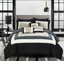 Chic Home Jake 10pc Black Comforter Set, Queen Reversible Bed in a Bag Hotel C.