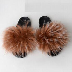 Luxury Womens Slides Very Big Real Raccoon Fur Slippers Shoes Flat Indoor Sandal