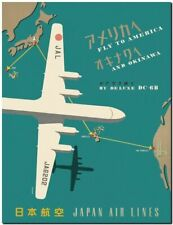 """Vintage Illustrated travel Poster CANVAS PRINT America to Japan Airlines 24""""x16"""""""