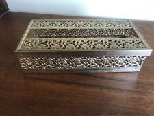 Brass Filigree Ornate Tissue Box Hollywood Regency Style Tissue Holder Vintage