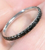 1Ct Round Cut Black Diamond Eternity Wedding Band Ring 14K White Gold Finish