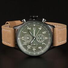 INFANTRY Herren Outdoor Armbanduhr Männer Militär Sport Chronograph Leder Braun