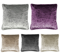 "New Plain Luxury Crushed Velvet Cushion Cover With Piped Edges 18"" 24"" & 30"""