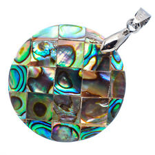 "Mother of Pearl Natural Abalone Sea Shell Round Pendant 1 1/4"" Jewelry #17-Z"