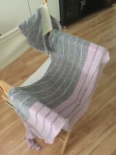 handknit  wool lace scarf/stole/wrap color in grey/pink