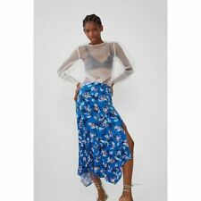 NWT Zara Blue Floral Printed Asymmetric Hemline Midi Skirt With Side Vent L