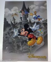 Disneyland Paris Postcard Gray White Castle Colorful Mickey Donald Goofy Pluto