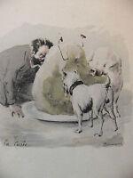 Simili Aquarelle L'oeuvre de Zola 1898 par H Lebourgeois La curée