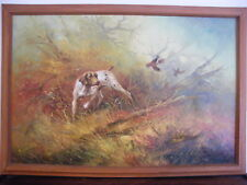 """FRAMED OIL ON CANVAS PAINTING HUNTING POINTER SETTER DOG GAME  33"""" X 23"""" SIGNED"""