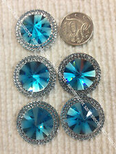 5 x PLASTIC BUTTONS with ROUND SILVER BLUE CRYSTAL  - 30mm  - #B840