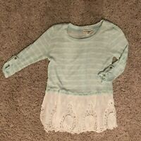 ALTAR'D  STATE Long Sleeve Womens Blouse/Lace. Green/White. Size Women's  Small