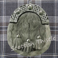 ST Men's Full Dress Kilt Sporran Grey Bovine Leather Celtic Cantle Chrome Finish