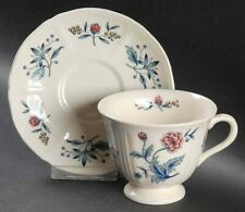 Wedgwood Footed Cup & Saucer Set Williamsburg Potpourri Pattern Porcelain ENGLAN