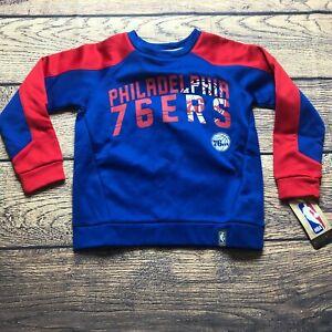 NBA Kids Medium 5/6 Philadelphia 76ers Tek Warm Pullover Sweatshirt NEW