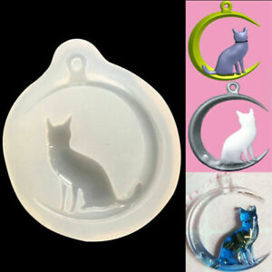 Moon Cat Silicone Pendant Mold Jewellry Making Resin Mould Epoxy Casting Tool 3D
