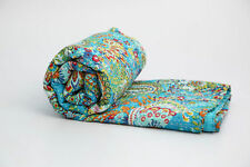 Indian Handmade Paisley Kantha  Turquoise Queen Size Quilt Block Print Bedspread