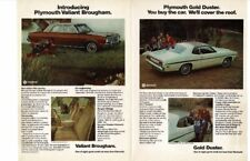 VINTAGE 1974 PLYMOUTH VALIANT GOLD DUSTER CARS AUTOMOBILE FOLD-OUT AD PRINT