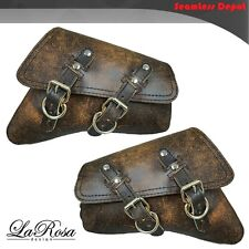 LaRosa Harley Sportster Left Right Saddlebags - 2004 UP Rustic Brown Leather Bag