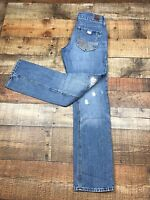 """AMERICAN EAGLE 77 Straight Leg Size 2S Distressed Jeans 30"""" Inseam"""