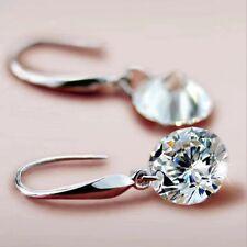 925 Sterling Silver Drop Hook Dangle Cubic Zirconia Earrings