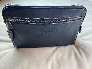 "Coach Leatherware Toiletry Case 12"" Travel Zip Clutch Black Leather 5068 Unisex"