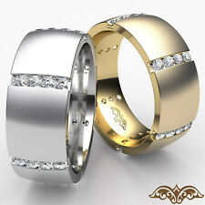 Matte Men's Dome Eternity Channel Round Diamond Wedding Band Gold Ring 0.70Ct