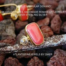 UNIQUE CORAL RING BY OMER 24K YELLOW GOLD OVER STERLING SILVER 925K SILVER