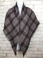 """Vintage Large Gray Triangle Plaid Fringe Oversized Scarf Shawl Wool  Wrap 41x33"""""""