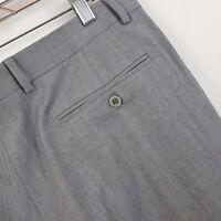 Zanella Bennett Wool Italy Gray Pleated Cuffed Men's Dress Pants Size 34 x 27