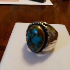 RARE CHUNKY NAVAJO STERLING & TURQUOISE RING SIGNED DJ SZ 12