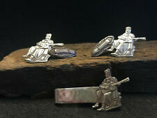 Set of Music Man Guitar Cuff Links and Tie Bar Silver Tone