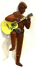 Folk Art Hand Carved Wooden Elvis Figure with Guitar and Shotgun