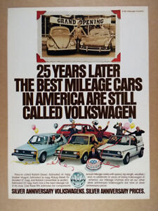 1981 VW Volkswagen Rabbit Convertible Pickup Silver Anniversary vintage print Ad