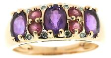9ct red pink gold multi stone band half eternity ring diamond amethyst rhodolite