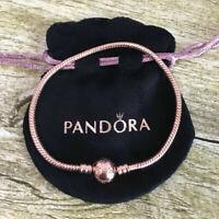 NEW Authentic PANDORA ROSE Gold Moment Charm Clasp Bangle Bracelet With Logo