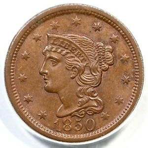 1850 N-12 PCGS MS 64 BN CAC Braided Hair Large Cent Coin 1c