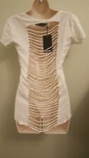 Womens White Crop  Short Sleeves Casual Top Shirt S