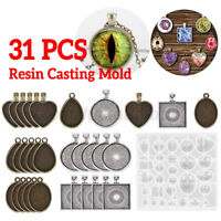 31pcs Resin Casting Molds Kit Silicone Mold Jewelry Making Pendant DIY Mould Set