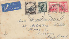 D 1821 NZ 1939 airmail cover to UK; 4 stamps; 1/6d rate