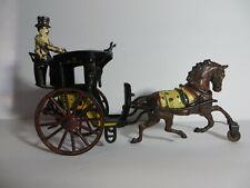 1890s Pratt & Letchworth Cast Iron Horse Drawn Hansom Cab w/ Driver All Original