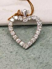 BRAND NEW SOLID 14K WHITE GOLD DIAMOND HEART PENDANT 20 ROUND NATURAL DIAMONDS