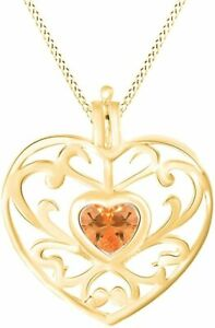 Simulated Citrine Filigree Heart Pendant Necklace in 14K Gold Over Silver