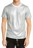 INC Mens T-Shirt Silver Small S Wipers Metallic Crew Zip-Detail Tee $39- #312