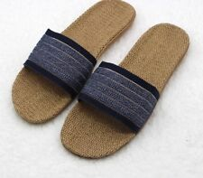 Men's Indoor Home Slippers Canvas Simple Patchwork Pattern Slides Durable Sandal