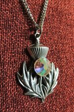 Scotch Thistle Pendant Celtic Scotland Iona Purple Crystal Pewter Necklace