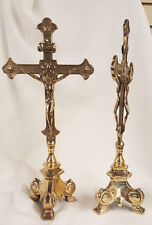 Double Sided Standing Crucifix, Shiny Brass, 13 inches