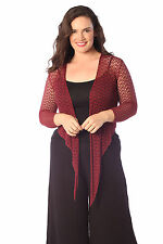 Womens Shrug Plus Size Ladies Knitted Front Tie Top Crochet Long Sleeve Nouvelle