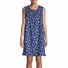 NWT ADONNA 100% COTTON Nightgown Navy Blue Floral Medium
