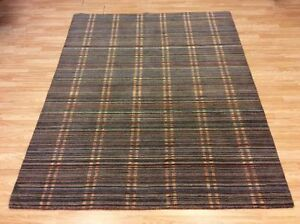 Striped Aztec Grey & Multi Colours Handwoven Wool Rug XL Large 186x234cm 60%OFF