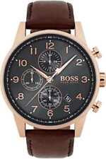 NEU Hugo Boss 1513496 Navigator Herren Uhr Chronograph Farbe: Roségold Braun OV